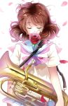 1girl absurdres blue_sailor_collar brown_hair closed_eyes cowboy_shot euphonium flower hibike!_euphonium highres instrument mou_(piooooon) neckerchief oumae_kumiko petals pink_neckerchief rose school_uniform serafuku short_hair solo strap