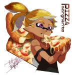 1boy artist_name black_shirt blonde_hair closed_mouth cropped_torso dark_skin domino_mask eating english food holding holding_food inkling isamu-ki_(yuuki) male_focus mask mouth_hold pizza pointy_ears scrunchie shirt short_hair signature solo splatoon standing strap_slip tank_top topknot upper_body violet_eyes white_background
