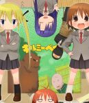 2boys 4girls animal balaclava bear black_legwear black_ribbon black_skirt blonde_hair blue_eyes blue_hair blush brown_eyes brown_hair character_request closed_eyes closed_mouth copyright_name crossed_arms eyebrows_visible_through_hair facing_viewer goshiki_agiri green_eyes hair_ribbon hands_on_hips kill_me_baby kneehighs long_hair looking_at_viewer multicolored_hair multiple_boys multiple_girls necktie okayparium old_man open_mouth oribe_yasuna parted_lips red_necktie redhead ribbon short_hair skirt smile sonya_(kill_me_baby) twintails unused_character upside-down white_legwear