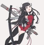 1girl bangs black_eyes black_hair black_legwear blunt_bangs breasts chaps gauntlets hair_ribbon holding kazuoki leotard long_hair looking_at_viewer open_mouth original pointy_ears red_leotard ribbon sheath sheathed small_breasts smile solo sword weapon white_ribbon