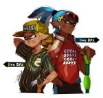 2boys arm_behind_head artist_name back-to-back baseball_cap baseball_jersey black_shirt black_shorts blue_eyes blue_hair camouflage_hat closed_mouth dark_skin dirty_face domino_mask earrings frown hair_pulled_back hand_in_pocket hat heterochromia holding holding_weapon inkling inkling_(language) isamu-ki_(yuuki) jacket jacket_on_shoulders jewelry letterman_jacket male_focus mask multiple_boys pointy_ears print_shirt red_shirt shirt short_hair short_sleeves shorts signature single_vertical_stripe splat_roller_(splatoon) splatoon standing striped striped_shirt sunglasses sunglasses_on_head t-shirt tearing_up tentacle_hair topknot translated upper_body vertical-striped_shirt vertical_stripes weapon yellow_eyes yellow_hat