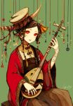 1girl akagi_shun bandage bandaged_arm brown_dress brown_hair cello commentary_request dress green_background hair_ornament hat holding holding_instrument instrument japanese_clothes jewelry long_sleeves looking_at_viewer music original parted_lips playing_instrument red_eyes ring signature sitting solo wide_sleeves