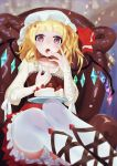 1girl alternate_costume blonde_hair blurry bridal_gauntlets cake chair depth_of_field dress eating flandre_scarlet food frilled_skirt frills fruit hand_on_own_face hat heart highres icing indoors leg_ribbon light_particles liyou-ryon looking_at_viewer messy mob_cap open_mouth plate raglan_sleeves reclining red_choker red_dress ribbon short_hair side_ponytail sitting skirt solo strawberry thigh-highs touhou violet_eyes white_legwear wings