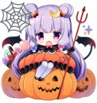 1girl basket black_gloves blue_bow bow candy chibi demon_tail demon_wings double_bun dress fang food frilled_dress frills gloves hair_bow halloween halloween_costume holding jack-o'-lantern jpeg_artifacts lollipop long_hair looking_at_viewer open_mouth orange_dress patchouli_knowledge polearm pumpkin purple_hair purple_legwear red_bow shiika_yuno silk simple_background smile solo spider_web striped striped_legwear tail thigh-highs touhou trident very_long_hair violet_eyes weapon white_background wings