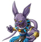 1boy animal_ears armband beerus black_eyes cat_ears claws dragon_ball dragon_ball_super egyptian_clothes fangs highres jewelry kamishima_kanon male_focus neck_ring open_mouth purple_skin single_earring solo tail toned toned_male wrist_cuffs yellow_sclera
