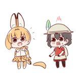 /\/\/\ 2girls :o animal_ears backpack bag bangs batta_(ijigen_debris) black_eyes black_hair blush_stickers bow bowtie bucket_hat chibi commentary d: detached_hair elbow_gloves eyebrows_visible_through_hair gloves grey_shorts hair_between_eyes hat hat_feather kaban_(kemono_friends) kemono_friends looking_at_another multiple_girls open_mouth orange_bow orange_bowtie orange_gloves orange_hair orange_skirt pantyhose red_shirt scared serval_(kemono_friends) serval_ears serval_print serval_tail shirt shoes short_hair shorts simple_background skirt standing sweatdrop tail white_background white_shirt