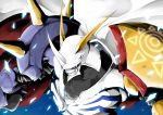 absurdres armor blue_background blue_eyes cape digimon digimon_adventure highres horns kaeru_dx no_humans omegamon solo spikes upper_body white_cape