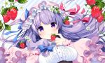 1girl adapted_costume bangs blue_bow bow breasts capelet commentary_request food fruit hair_bow hat hat_bow large_breasts long_hair looking_at_viewer mob_cap patchouli_knowledge pink_hat purple_hair red_bow shiika_yuno smile solo strawberry touhou upper_body violet_eyes white_flower