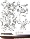 1boy absurdres character_sheet cuphead cuphead_(game) gashi-gashi giving_up_the_ghost grin halo highres pants pen pen_(medium) smile traditional_media