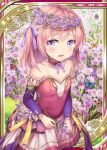 1girl age_regression akkijin butterfly card_(medium) dress flower garden head_wreath pink_dress pink_eyes pink_hair princess shinkai_no_valkyrie solo younger