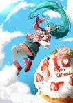 1girl :q absurdres birthday_cake blueberry bow breasts cake cardigan clouds collared_shirt commentary_request english flower food food_on_face fork fruit full_body green_hair green_skirt grey_shirt hair_bow happy_birthday hatsune_miku headphones highres holding holding_fork long_hair long_sleeves medium_breasts necktie number open_cardigan open_clothes outstretched_arm pink_bow pink_rose pink_shoes plate pleated_skirt rose scrunchie shirt shoes skirt sky slice_of_cake solo strawberry striped striped_necktie sunlight tendo_(zhazhatiantong) thigh-highs tongue tongue_out twintails very_long_hair vocaloid white_legwear wing_collar wrist_scrunchie
