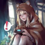 ! >:) 1girl animal_costume blonde_hair blurry blush brown_eyes cola depth_of_field doma_umaru drooling hamster_costume himouto!_umaru-chan kaburagi_yasutaka knees_up long_hair neet parted_lips playing_games playstation_controller realistic sitting smile soda_bottle solo spoken_exclamation_mark