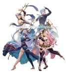2boys 2girls alternate_costume anklet aqua_(fire_emblem_if) azur_(fire_emblem) barefoot black_legwear blue_hair bracelet closed_eyes dancing detached_sleeves dress fan fire_emblem fire_emblem:_kakusei fire_emblem_heroes fire_emblem_if jewelry krazehkai long_hair midriff mother_and_son multiple_boys multiple_girls navel olivia_(fire_emblem) pink_hair sash shawl shigure_(fire_emblem_if) single_thighhigh smile stomach thigh-highs thigh_strap very_long_hair