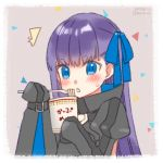 1girl :< bangs blue_eyes blue_ribbon blush brown_background confetti dated eating fate/extra fate/extra_ccc fate_(series) food hair_ribbon hands_in_sleeves juliet_sleeves koruri long_hair long_sleeves meltlilith noodles parted_lips puffy_sleeves purple_hair ramen ramen ribbon signature simple_background solo sweat tareme triangle_mouth upper_body