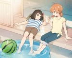 2girls arm_support barefoot brown_eyes brown_hair casual commentary_request food fruit kanou_koyomi koito_yuu lying multiple_girls nakatani_nio on_back pants pants_rolled_up popsicle shirt shorts sitting soaking_feet striped striped_shirt summer tied_shirt wading_pool watermelon_bar watermelon_beach_ball yagate_kimi_ni_naru yellow_shirt