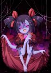 1girl :d bare_arms blush bow bowtie bright_pupils commentary_request dress extra_arms extra_eyes fangs gradient gradient_background hair_ribbon hands_clasped heart highres looking_at_viewer muffet open_mouth own_hands_together pink_eyes puffy_short_sleeves puffy_sleeves purple_hair purple_skin red_bow red_bowtie red_dress red_ribbon ribbon shaded_face short_sleeves silk skirt_hold smile solo spider spider_web two_side_up undertale v_arms z.o.b
