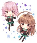 2girls :d ahoge black_legwear blush brown_eyes brown_footwear brown_hair eyebrows_visible_through_hair fang green_sailor_collar green_skirt hair_between_eyes highres huge_ahoge kantai_collection kuma_(kantai_collection) long_hair long_sleeves masayo_(gin_no_ame) multiple_girls neckerchief open_mouth pantyhose pink_hair pleated_skirt red_eyes red_neckerchief sailor_collar shoes short_hair skirt smile star tama_(kantai_collection) white_background