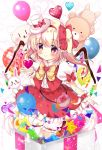 1girl balloon bear blonde_hair bloomers blush bow bowtie cat closed_mouth crystal flandre_scarlet frilled_shirt frilled_skirt frills full_body hair_bow hat hat_bow heart looking_at_viewer mini_hat mini_top_hat puffy_short_sleeves puffy_sleeves rabbit red_bow red_eyes red_skirt red_vest rika-tan_(rikatantan) shirt short_sleeves side_ponytail skirt skirt_set smile solo star top_hat touhou underwear vest white_shirt wings wrist_cuffs yellow_bow yellow_bowtie