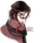 1girl bead_necklace beads beret black_eyes brown_hair character_name coco_adel ecru english hat jewelry necklace rwby smile sunglasses