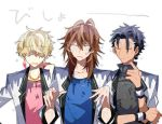 3boys =_= black_hair blonde_hair brown_hair closed_eyes dark_skin dark_skinned_male earrings feather_earrings hair_over_eyes jacket jewelry kyo_(vocaloid) long_hair lowres male_focus multiple_boys necklace simple_background upper_body vocaloid wet white_background white_jacket wil_(vocaloid) wrsitband yuu_(vocaloid) zola_project