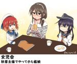 3girls akatsuki_(kantai_collection) anchor_symbol ashigara_(kantai_collection) braid brown_hair drinking_cup drinking_straw etorofu_(kantai_collection) fork hat kantai_collection long_sleeves misumi_(niku-kyu) multiple_girls open_mouth purple_hair redhead sailor_hat school_uniform serafuku shirt short_hair snack translation_request twin_braids