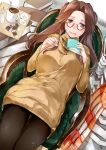 1girl :d alternate_costume bespectacled black_legwear book brown_eyes brown_hair glasses half_updo highres holding holding_book iapoc jintsuu_(kantai_collection) kantai_collection long_hair long_sleeves open_mouth red-framed_eyewear sitting smile solo sweater thigh-highs yellow_sweater