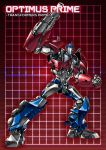 1boy autobot blue_eyes cannon character_name clenched_hand full_body grid grid_background headgear looking_at_viewer machine machinery mecha no_humans optimus_prime paintedmike red_background robot solo transformers transformers_prime weapon