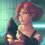 1girl aiming_at_viewer bandage blue_eyes blurry depth_of_field desert_eagle eyebrows fingerless_gloves gloves gun handgun holding holding_gun holding_weapon ilya_kuvshinov lips meryl_silverburgh metal_gear_(series) metal_gear_solid nose pistol short_hair soft_focus solo tank_top tomboy weapon