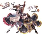 2girls apron boots brown_hair claudia_(granblue_fantasy) cross-laced_footwear cup dorothy_(granblue_fantasy) dress flamethrower full_body gauntlets granblue_fantasy hair_bun holding juliet_sleeves kneeling lace-up_boots lavender_eyes long_hair long_sleeves looking_at_viewer maid maid_apron maid_headdress mary_janes minaba_hideo multiple_girls official_art open_mouth pantyhose pastry puffy_long_sleeves puffy_sleeves shoes short_hair smile teacup teapot thigh-highs transparent_background twintails underbust weapon white_apron white_legwear