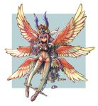 >:/ 1girl :/ angel_wings anklet argyle argyle_legwear bangs black_leotard blue_background breasts closed_mouth cosplay crotch_plate elbow_gloves eyebrows_visible_through_hair facing_viewer feathered_wings feathers final_fantasy final_fantasy_tactics final_fantasy_tactics_advance final_fantasy_xii floating flying full_body gloves gradient_clothes gradient_legwear green_legwear green_wings hair_between_eyes hat head_wings horns jewelry legs legs_apart leotard long_hair long_legs looking_away looking_to_the_side low_wings midriff multicolored multicolored_background multicolored_clothes multicolored_legwear multicolored_wings multiple_wings namesake navel_cutout oomasa_teikoku purple_legwear red_eyes red_gloves red_legwear red_wings sidelocks silver_hair small_breasts solo straight_hair thigh-highs two-tone_background ultima_(fft) ultima_(ffta) ultima_(ffta)_(cosplay) white_background white_wings wings yellow_hat zettai_ryouiki