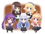 5girls :d ahoge ama_usa_an_uniform animal_ears apron aqua_eyes bangs black_footwear black_legwear black_skirt blue_bow blue_footwear blue_neckwear blue_vest blunt_bangs blush bolo_tie boots bow bowl bowtie brown_footwear brown_hair cake chestnut_mouth chibi chocolate_hair closed_mouth coffee collared_shirt commentary_request cup everyone eyebrows_visible_through_hair fake_animal_ears fleur_de_lapin_uniform floppy_ears flower food frilled_apron frilled_skirt frills full_body gochuumon_wa_usagi_desu_ka? gradient gradient_background green_eyes green_kimono green_tea hair_flower hair_ornament hairclip holding holding_menu holding_tray hoto_cocoa japanese_clothes kafuu_chino kimono kirima_sharo konatsu_hisagi light_blue_hair long_hair long_skirt long_sleeves looking_at_viewer maid_apron maid_headdress menu multiple_girls open_mouth orange_hair outline pantyhose pink_ribbon pink_vest polka_dot_trim puffy_short_sleeves puffy_sleeves purple_bow purple_bowtie purple_hair purple_vest rabbit_ears rabbit_house_uniform red_bow red_bowtie ribbon saucer shirt shoes short_sleeves sidelocks skirt skirt_hold smile striped striped_kimono tea tedeza_rize tray ujimatsu_chiya underbust vest waist_apron white_apron white_flower white_legwear white_outline white_shirt wide_sleeves wing_collar x_hair_ornament yunomi