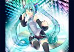 1girl aqua_eyes aqua_hair boots detached_sleeves hatsune_miku headset long_hair nail_polish necktie one_eye_closed open_mouth outstretched_arm sitting skirt solo thigh-highs thigh_boots tougo twintails very_long_hair vocaloid