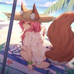 animal_ears bangs beach beach_umbrella bikini blue_bikini bracelet caster_(fate/extra) closed_mouth day fate/grand_order fate_(series) fox_ears fox_tail hair_between_eyes hair_over_shoulder hand_up hat highres jewelry long_hair looking_back nian outdoors palm_tree pink_hair see-through shade shirt short_sleeves side-tie_bikini sidelocks sitting smile straw_hat striped_towel sun_hat swimsuit t-shirt tail tamamo_no_mae_(swimsuit_lancer)_(fate) towel tree umbrella wet wet_clothes wet_shirt white_shirt yellow_eyes yokozuwari