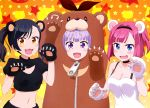3girls :d absurdres animal_costume animal_ears arm_up bear_costume bear_ears black_gloves black_hair black_hairband blue_eyes blush breasts choker cleavage cleavage_cutout collarbone crop_top eyebrows_visible_though_hair fang gloves hairband highres looking_at_viewer medium_breasts midriff mochizuki_momiji multiple_girls narumi_tsubame navel new_game! official_art open_mouth paw_gloves paws pink_hair purple_hair short_hair side_ponytail sleeveless small_breasts smile standing star stomach suzukaze_aoba upper_body violet_eyes white_gloves yellow_eyes zipper