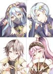 2boys 2girls aqua_(fire_emblem_if) atoatto azur_(fire_emblem) blue_eyes blue_hair fingerless_gloves fire_emblem fire_emblem:_kakusei fire_emblem_heroes fire_emblem_if gloves hair_between_eyes hair_over_one_eye long_hair looking_at_viewer mother_and_son multiple_boys multiple_girls olivia_(fire_emblem) open_mouth pink_hair polearm shigure_(fire_emblem_if) short_hair simple_background smile twintails weapon yellow_eyes