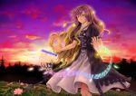 1girl blonde_hair brown_hair dress flower fuwatoro_(enemy-of-society) hijiri_byakuren layered_dress lily_pad lotus open_hands purple_hair purple_sky solo sorcerer's_sutra_scroll sunset touhou violet_eyes