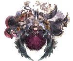 3girls apron boots breasts brown_hair cape claudia_(granblue_fantasy) cleavage constance_(granblue_fantasy) cross-laced_footwear cup dorothy_(granblue_fantasy) dress flamethrower gauntlets glasses granblue_fantasy hair_bun hair_ornament holding juliet_sleeves kneeling lavender_eyes long_hair long_sleeves looking_at_viewer maid maid_apron maid_headdress minaba_hideo multiple_girls official_art one_eye_closed open_mouth pastry puffy_long_sleeves puffy_sleeves short_hair smile teacup teapot thigh-highs transparent_background twintails underbust weapon white_apron white_legwear