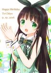 1girl :d bangs bare_shoulders blunt_bangs blush bow bowtie breasts brooch brown_hair character_name chocolate_hair commentary_request dated english eyebrows_visible_through_hair fingers_together flower gochuumon_wa_usagi_desu_ka? green_bow green_bowtie green_eyes green_hairband green_shirt hands_together happy_birthday highres jewelry large_breasts leaf long_hair looking_at_viewer open_mouth shirt sisochair smile solo striped striped_shirt ujimatsu_chiya upper_body vertical-striped_shirt vertical_stripes wrist_cuffs