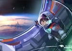 1girl asteroid astronaut astronaut_helmet bangs black_eyes blunt_bangs city closed_mouth clouds doitsu_no_kagaku holographic_interface indoors maroon_hair microphone original planet profile science_fiction smile space space_craft space_station