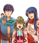 2boys 2girls blue_eyes chiki family fire_emblem fire_emblem:_monshou_no_nazo fire_emblem_heroes fire_emblem_musou gloves green_eyes green_hair highres intelligent_systems long_hair looking_at_viewer marth multiple_boys multiple_girls nabarl nintendo open_mouth ponytail sheeda