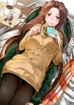 1girl :d alternate_costume black_legwear book brown_eyes brown_hair half_updo highres holding holding_book iapoc jintsuu_(kantai_collection) kantai_collection long_hair long_sleeves open_mouth pantyhose sitting smile solo sweater yellow_sweater