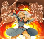 1girl antenna_hair belt blonde_hair capelet character_request dungeon_meshi elf explosion highres long_hair marcille mochi_(mochi444420) pants pointy_ears shouting staff sweat wide_sleeves yellow_eyes