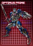 1boy autobot blue_eyes character_name full_body grid grid_background headgear holding holding_sword holding_weapon huge_weapon looking_at_viewer machine machinery mecha no_humans optimus_prime paintedmike red_background robot shield solo standing sword transformers weapon