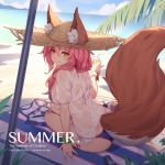 animal_ears bangs beach beach_umbrella bikini blue_bikini bracelet caster_(fate/extra) character_name closed_mouth copyright_name day fate/grand_order fate_(series) fox_ears fox_tail hair_between_eyes hair_over_shoulder hand_up hat highres jewelry long_hair looking_back nian outdoors palm_tree pink_hair see-through shade shirt short_sleeves side-tie_bikini sidelocks sitting smile straw_hat striped_towel sun_hat swimsuit t-shirt tail tamamo_no_mae_(swimsuit_lancer)_(fate) towel tree umbrella wet wet_clothes wet_shirt white_shirt yellow_eyes yokozuwari