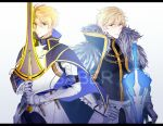 2boys armor blonde_hair blue_eyes cape chains excalibur_(fate/prototype) excalibur_galatine fate/extra fate/grand_order fate/prototype fate_(series) gauntlets gawain_(fate/extra) green_eyes male_focus multiple_boys rankaku_(dandanzi123) saber_(fate/prototype) sword weapon