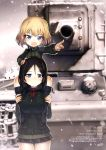 2girls :d absurdres artist_name black_footwear black_hair black_jacket black_skirt blonde_hair blue_eyes boots eyebrows_visible_though_hair girls_und_panzer ground_vehicle hand_on_another's_head highres index_finger_raised jacket katyusha knee_boots kv-2 microskirt military military_vehicle motor_vehicle multiple_girls nonna official_art open_mouth outdoors outstretched_arm pleated_skirt pravda_military_uniform red_shirt rondo_bell shirt short_hair skirt smile snowing snowman tank