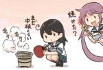 2girls ahoge akebono_(kantai_collection) bell black_hair bowl chopsticks comic commentary_request cooking fan fish flower grill grilling hair_bell hair_between_eyes hair_flower hair_ornament holding holding_bowl holding_chopsticks kantai_collection multiple_girls neckerchief open_mouth otoufu pink_background pleated_skirt rice rice_bowl saury school_uniform serafuku shadow short_sleeves side_ponytail sidelocks skirt smile smoke squatting translation_request ushio_(kantai_collection) white_background