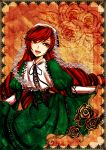 1girl arika brown_hair corset dress floral_background floral_print framed_image frills gothic_lolita green_dress green_eyes headpiece heterochromia holding_dress lolita_fashion long_hair open_mouth puffy_sleeves red_eyes rozen_maiden smile solo suiseiseki