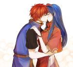 1boy 1girl belt blue_hair blush bracelet capelet closed_eyes couple cute delsaber dress fire_emblem fire_emblem:_fuuin_no_tsurugi fire_emblem:_the_binding_blade fire_emblem_6 fire_emblem_sword_of_seals hairband hetero hug intelligent_systems jewelry kiss lilina lilina_(fire_emblem) long_hair love nintendo profile redhead roy_(fire_emblem) shirt short_hair short_sleeves simple_background spiky_hair upper_body vest white_background