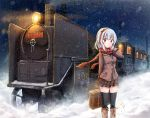 1girl black_legwear blush locomotive night original red_eyes red_scarf scarf skirt snow snowman snowmi solo steam_locomotive suitcase thigh-highs white_hair